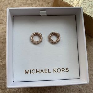 NEW Michael Kors Rose Goldtone Pave Stud Earrings